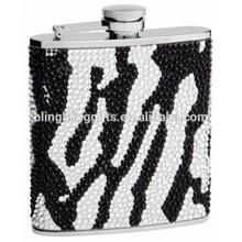 45 colors Mix wholesale Fashion 100% handmade zebra crystal flask cute hip flask