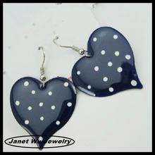 best quality fashion zinc alloy 18k gold epoxy spot heart drop earrings