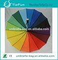 auto abierto de cuero de la pu mango largo 16 paraguas de colores del arco iris paraguas