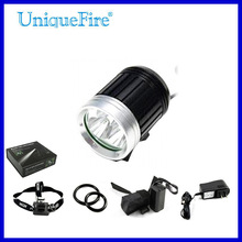 UniqueFire 3 led headlamp rechargeable flashlight bicycle head lamp
