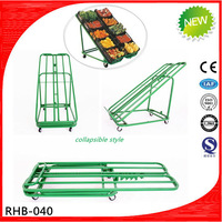 Folding metal vegetable fruit display rack for retail shop