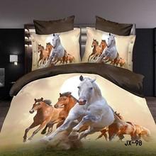 New pattern printed design racing horse 3d bedding set
