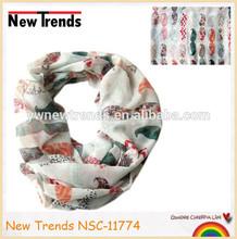 Fashionable leopard star chevron flower patterns moustache loop scarf