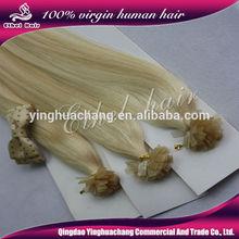 Organic hair products 5a 100% virgin human flat--tip hair hot selling keratin flat tip remy virgin Brazilian hair extension