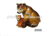 High quality animal metal jewelry box mom and baby bears enamel trinket box