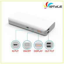 10000mah mobile power bank, dual usb output led display