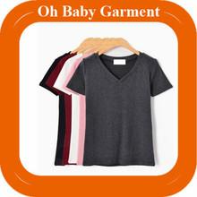 Bulk Polyester/Cotton Blank Tees V-neck Basic Tight Womens Tshirts