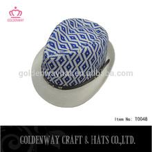 bulk sale straw black leather fedora hat blue and white fedora hat