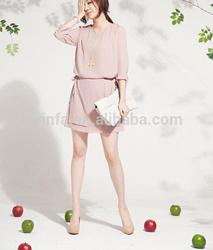 2014 Ladeis newest short sleeves chiffon dress