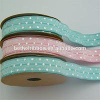 Satin elastic crochet ribbon rolls silver foil dot