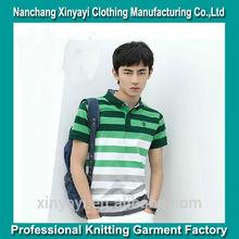 2014 New style fashion stripe t shirt for men / classic rib collar t-shirt alibaba china supplier