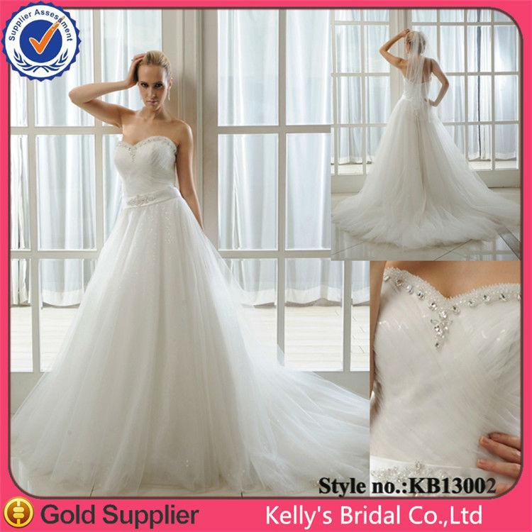 Sweetheart Neckline Make Of Shining Tulle Plus Size Wedding Dress Patterns V