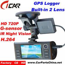 Hot Promotion! 2.7 inch TFT Dual Cams HD Dash Cam H.264 G-sensor SOS with GPS Logger Dual Cam HD Car Security Dash Camera DVR