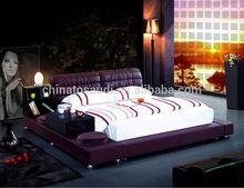 Hotel furniture / modern leather bed / custom made bedroom set