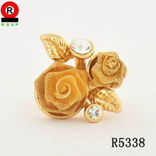 Two Golden Rose charming wedding ring for women best gifts gold jewelry occasion