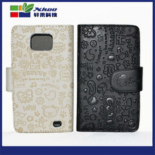 2014 wholesale cell phone case faerie leather phone case for samsung i9100,flip wallet stand leather case for samsung i9100