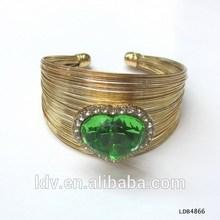 Antique Gold Arm Cuff Upper With Big Emerald