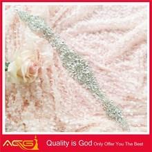 Silver stone beaded diamond Organza backing hair beaded brooch for wedding