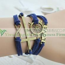 2014 New style fashion jewelry retro infinity mens bracelet wholesale!! Hot sale love voyage leather mens bracelet with cross!!