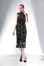 2014 gold embroidery flowers patterns cheongsam tea length evening/prom dress