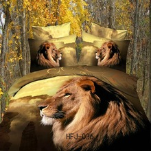 Made in china 3d Lion animal world bed cover fabric