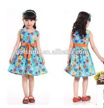 2014 New Kids Clothing Fancy Girls Cap Sleeve Design Summer Floral Dress