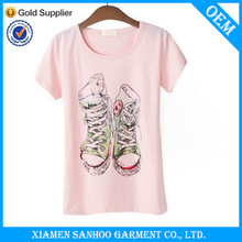 Fashion Printing Woman T Shirt Various Colors Short Sleeve Best Price Round Collar