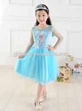 Boutique chiffon frozen elsa frock design for baby girl dance party elegant long sleeve frozen elsa tutu dress