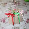 natural burlap jute bag with red satin ribbon drawstring cord