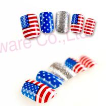 Vibrant nail art world cup style nail USA flag nail tips