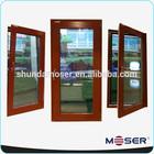 wood double glazed inward swing transom window door design for villa