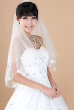 Cute and Sweat Handmade Organza For Wedding Veil, Wholesale Appliqued Bows and Flower Beaded Bridal veil Scalloped Edge Veils