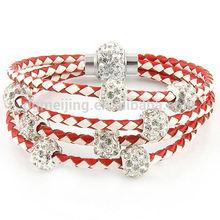 Fashion womens bracelet wrist band leather jewelry with rhinestone beads(MJB-0666)