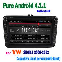 2 din touch screen gps bluetooth tv usb android 4.1 8 inchvw skoda car dvd 2005 2006 2007 2008 2009 2010 2011 2012