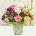 Atacado flores artificiais em vasos decorativos flores artificiais aumentou arranjos de flor artificial