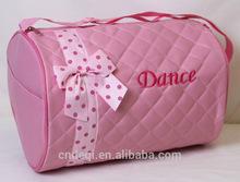 Girls Quilted Pink Polka Dot and Zebra Trim Dance Duffle Bag Tote Kids