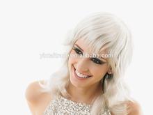 Fashion Chic Short 14`` Silver Wavy Wig with Bang Natural Brazilian Virgin Human Hair Full Lace/Lace Front Wigs