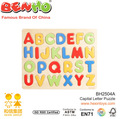 Maiúsculas levantadas alfabeto formas de madeira puzzle brinquedos pré-escolares aprender as letras