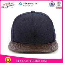 Custom run dmc flat leather brim snapback cap flat brim cap