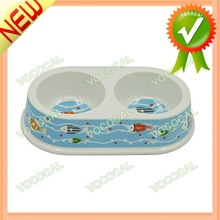 Fishes Figure Plastic Pet Dog Bowl Accessory Food Water Feeder Double Bowl