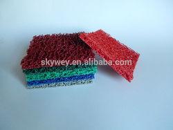 Resilient vinyl loop matting designed to scrape dirt off shoes