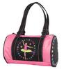 New Girls Dance Bag Roll Duffle Black Pink w/ Flowers