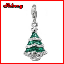 Silber Dream Charm christmas tree green enameled, 925 Sterling Silver Charms Pendant with Lobster Clasp for Charms Bracelet