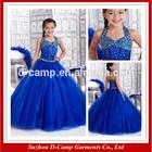 FG-137 Hanging neck ball gown girl dresses ball gowns for kids for cheap ball gown girl dresses blue