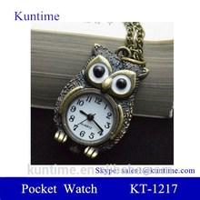 anime pocket watch with Owl Pattern Quartz Metallic pocket watch anime style