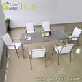 luxo ce505a sala de jantar jogo de jantar de vidro mesa 6 cadeiras conjunto de jantar de porcelana conjunto