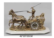 Unique Design Bronze Carriage Table Clock With Marble Pedestal, Luxury Home Decorative Copper Clock
