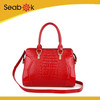 2014 New summer croco patent leather shoulder bag biege
