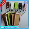 with rope pu wallet back cover leather case for galaxy s4 mini