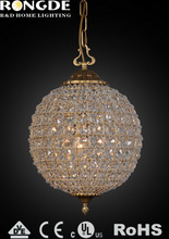 2014 Elegant gold colored small ball crystals chandelier for wedding SD6069-3VBN